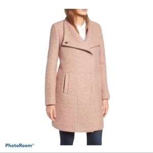 KENNETH COLE Wool Blend Boucle  Blush Coat